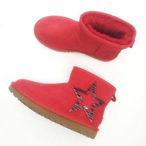 Ugg red classic mini star silver boots size 6